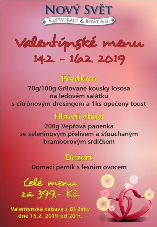 Restaurace Louny - Valentýnské menu